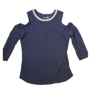 Lily White Cold Shoulder Navy Blue 3/4 Top Size M